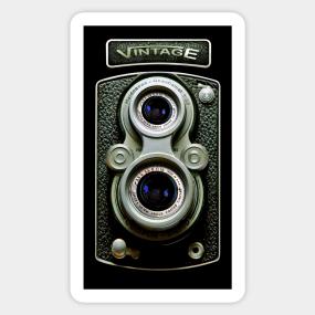 bf59f1464b Classic Retro vintage black doff double lens camera Sticker