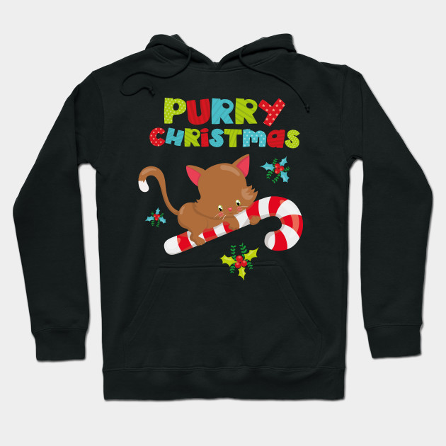 Meowy Purry Christmas Cute Christmas Gift for Kids Hoodie