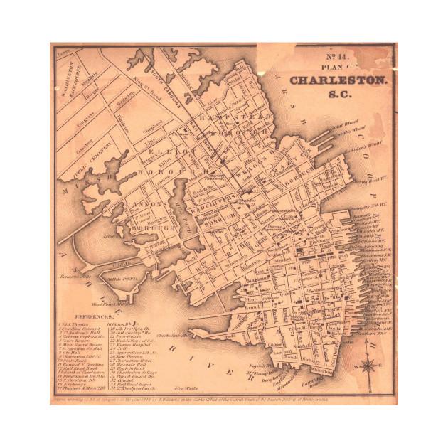 Vintage South Carolina Map.Vintage Map Of Charleston South Carolina 1849 Charleston Map T