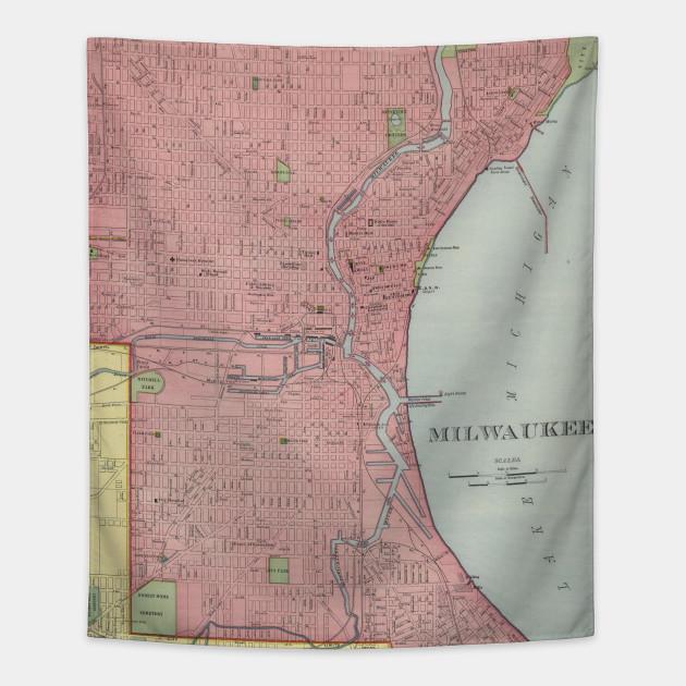 Vintage Map Of Milwaukee Wisconsin Milwaukee Map Tapestry - Vintage milwaukee map