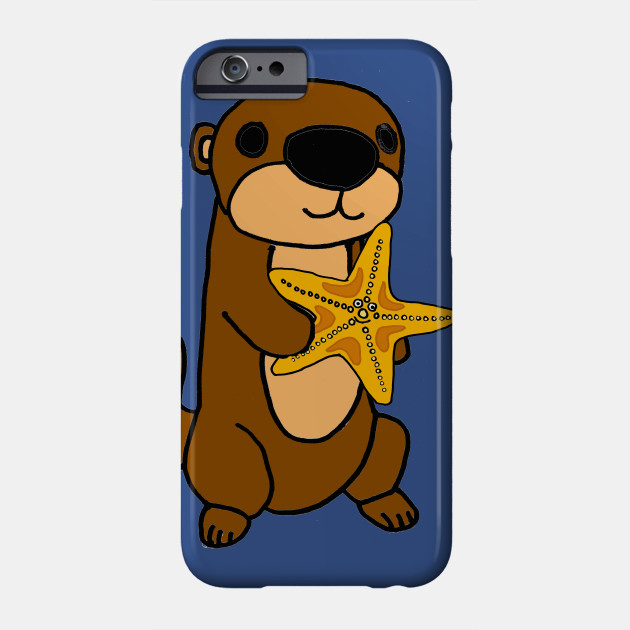 013828ac9 Cute Baby Sea Otter with Starfish Cartoon - Sea Otter - Phone Case ...