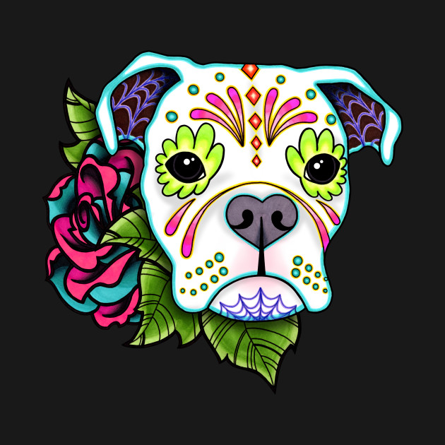 Boxer in White - Day of the Dead Sugar Skull Dog