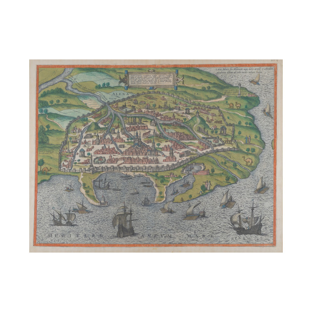 Vintage Pictorial Map Of Alexandria Egypt 1575 Alexandria Egypt