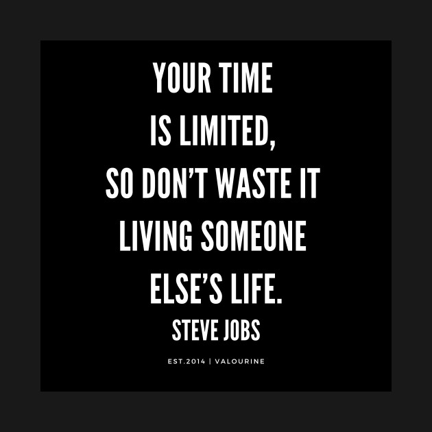 Steve Jobs Quote Your Time Is Limited So Don T Waste It Living Someone S Elses Life Motivational Quote Steve Jobs Quote T Shirt Teepublic