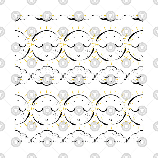 Watercolor Scandinavian Style Pattern With Cloud And Sun