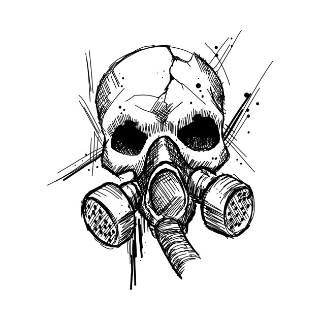 Skull With Gas Mask New School Apocalypse Art