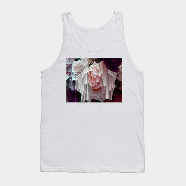 Glitched Pink Rose Tank Top