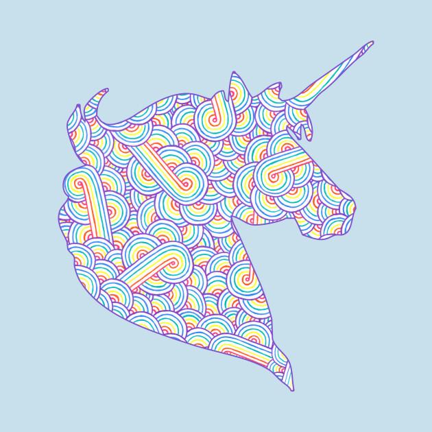 Rainbow and white swirls doodles Unicorn head
