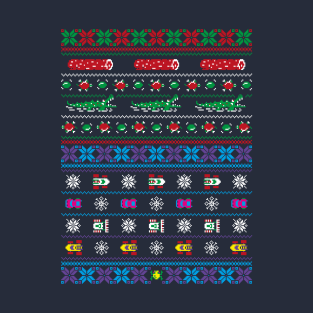 Frogs, Logs & Automobiles - Frogger Arcade Christmas Ugly Sweater t-shirts
