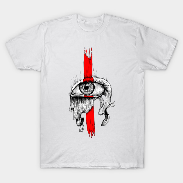 Red inked Eye Simple T-Shirt