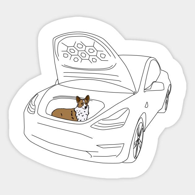 Corgi in a Tesla Model 3 Frunk