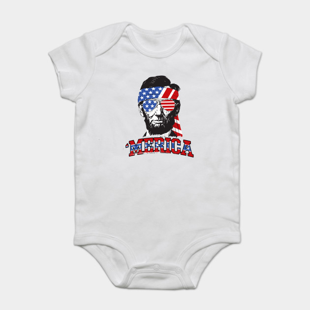 8970742d4 Abe Lincoln Merica - 4th Of July - Onesie | TeePublic