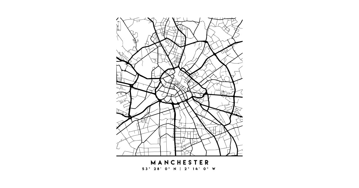 Map Of Uk Black And White.Manchester England Black City Street Map Art By Deificusart