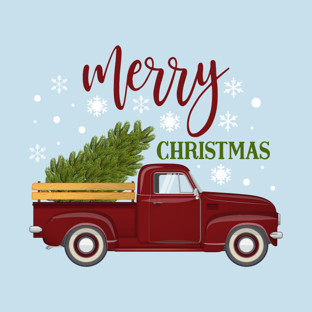 Vintage Red Truck Christmas Decor.Vintage Red Truck Christmas Tree