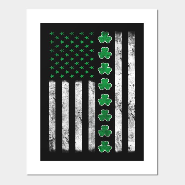 e969aaf32e49 Vintage Irish American Flag St. Patrick s Day Shamrock Posters and Art  Prints