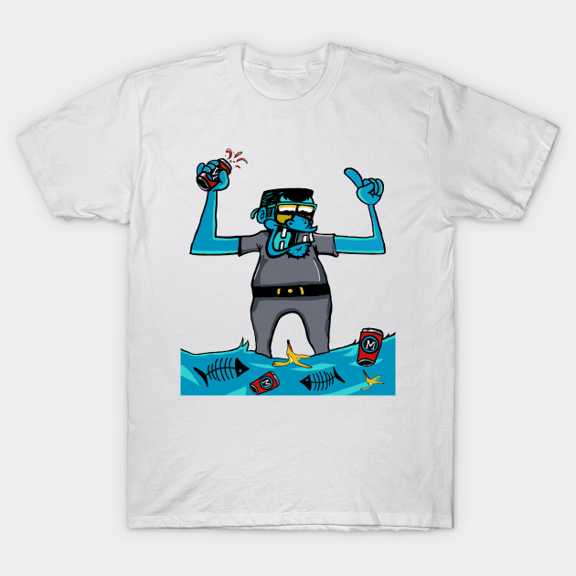 22ad1ac8 Graffiti with a Blue Alien drinking beer in a waste - Alien - T ...
