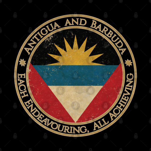 Vintage Antigua and Barbuda USA North America United States Flag
