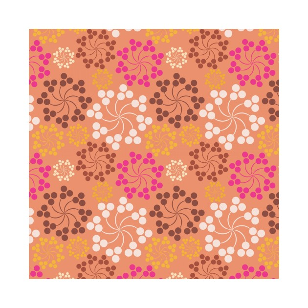 Orange Floral Swirl Pattern