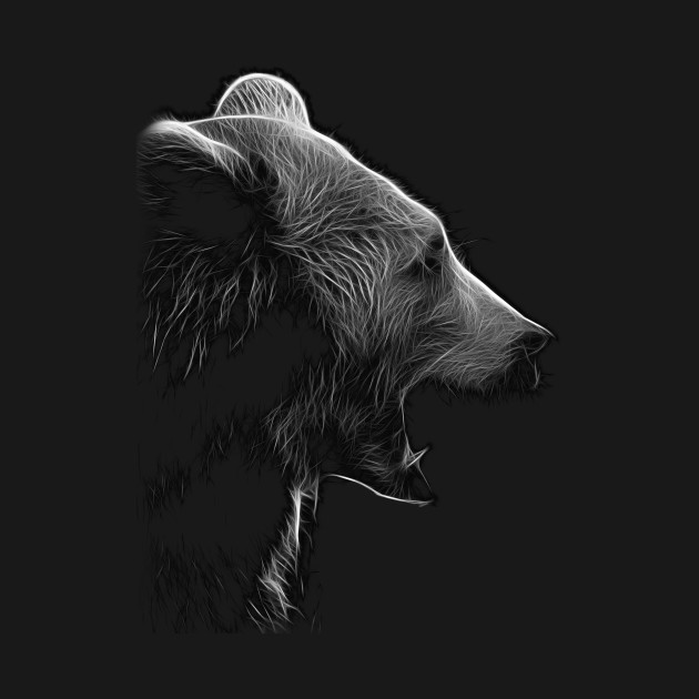 bear, black and white shirt