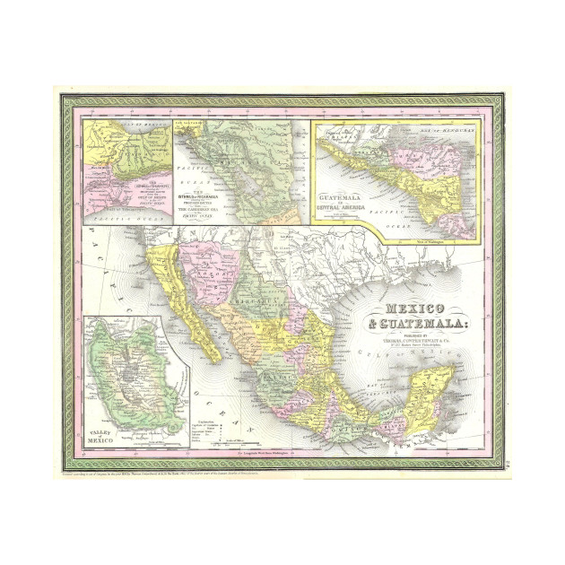 vintage map of mexico 1850 mexico map t shirt teepublic