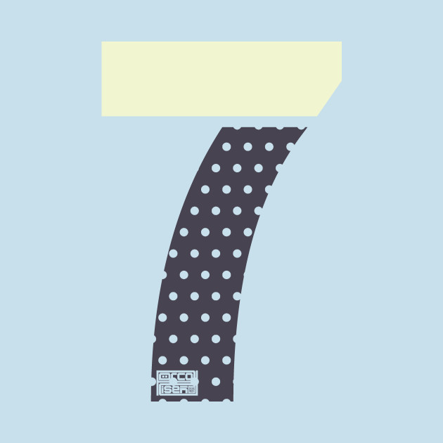 Number 7 Seven Ladies Girls Polka Dots Girly Cute