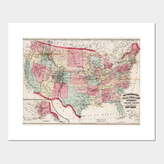 Vintage United States Map 1870 United States Map Posters And