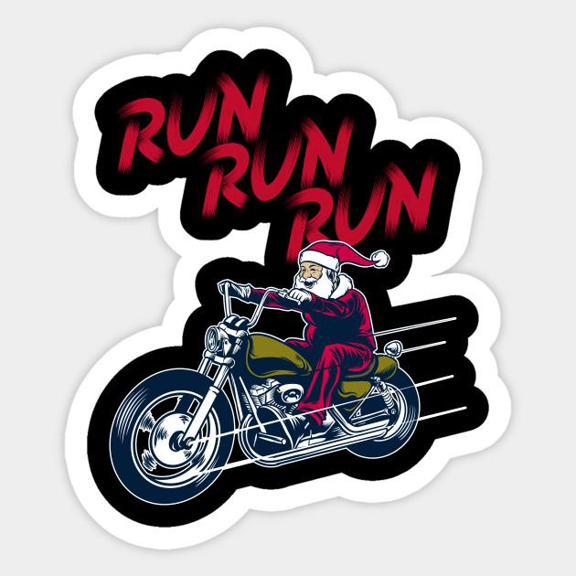 Biker Christmas.Motorcycle Classic Santa Claus Biker Christmas Run T Shirt