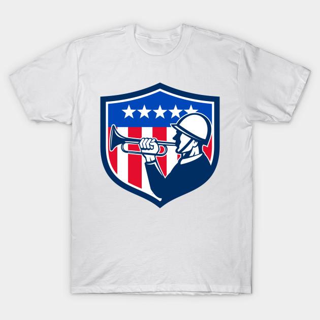 297e6b60dcf American Soldier Bugler Reveille USA Flag Crest Retro - American ...