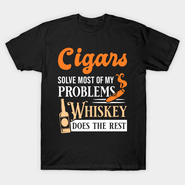 Cigar Whisky Solve Problems Funny Smoking Gift Long Sleeve T-Shirt