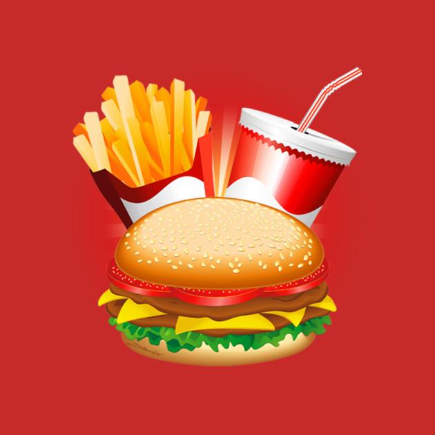 Fast Food Hamburger Fries and Drink