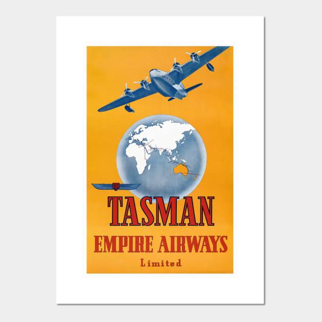 1940s Tasman Empire Airways Vintage Style Travel Poster 24x36