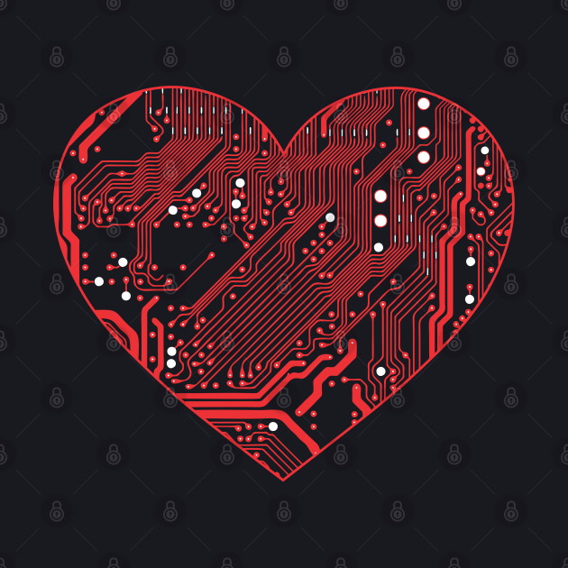 Technology Lover Red Circtuit Board Heart