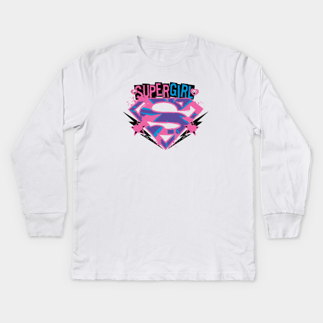 52dc824c Supergirl Pink and Purple Grunge - Supergirl - Kids Long Sleeve T ...