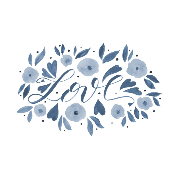 Love and flowers - grey