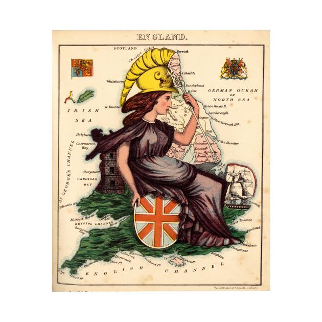 Map Of England For Kids.Vintage Illustrative Map Of England 1869 England Map Kids Long