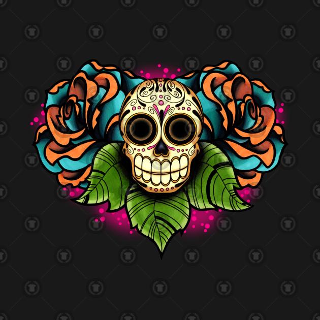 sugar skull and roses dia de los muertos calavera day of the