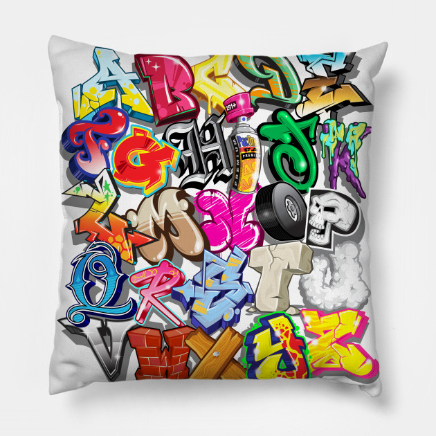 Alfabet Graffiti pac one graffiti alphabet - graffiti - pillow | teepublic