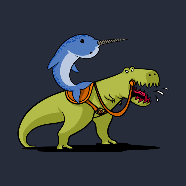 Funny Narwhal Cartoon Narwhal Riding T-Rex D...