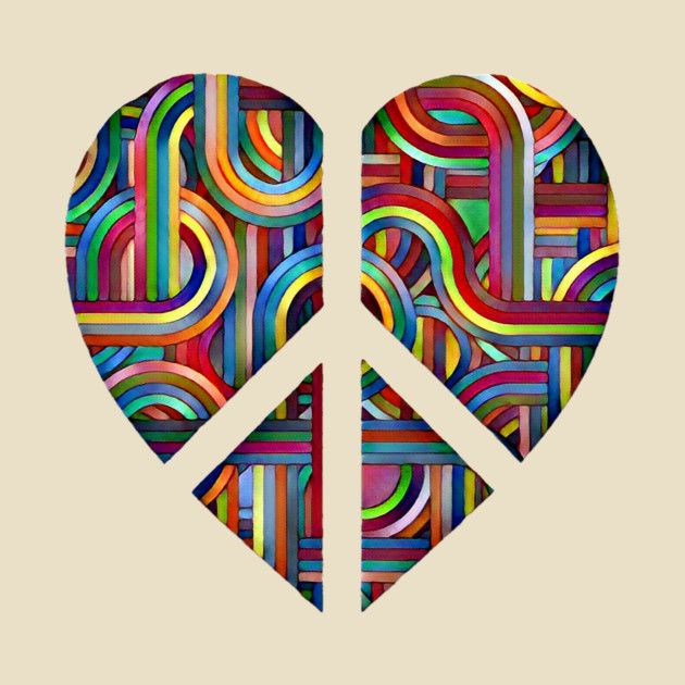 Colorful Abstract Heart Peace Symbol Peace And Love T Shirt