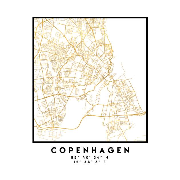 COPENHAGEN DENMARK CITY STREET MAP ART Copenhagen TShirt