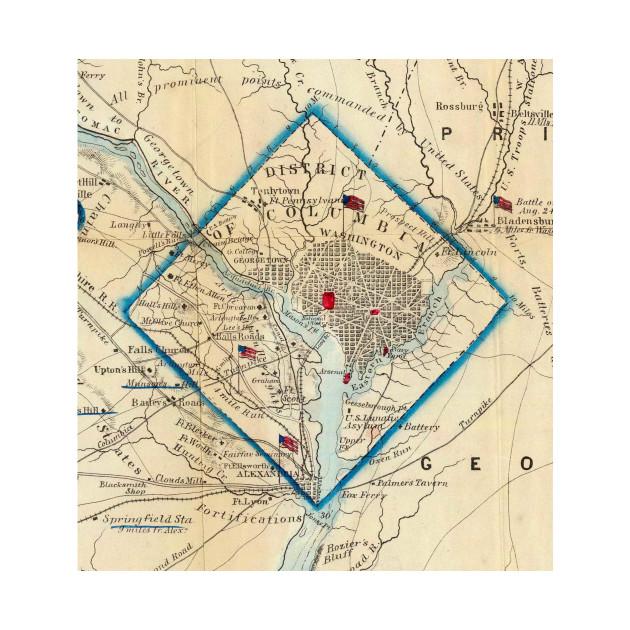 Vintage Map of Washington D.C. Battlefields (1862)