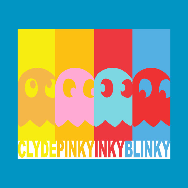 TSHIRT - PACMAN Inky, Blinky, Pinky and Clyde