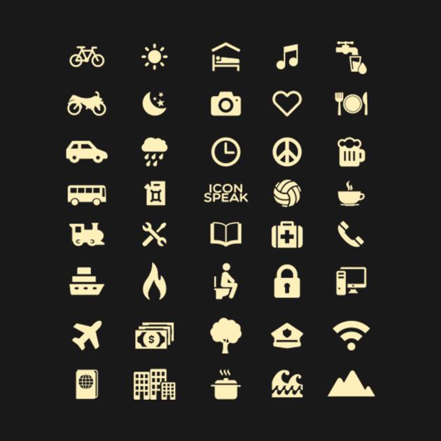 Travel Icon T-Shirt,Travel Guide 40 icons SOS