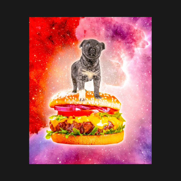 Outer Space Galaxy Dog Riding Burger