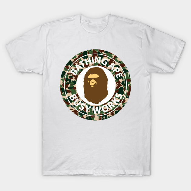 Bape bathing ape camo circle logo bape t shirt teepublic for Bape t shirt sizing