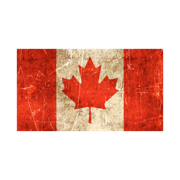 Vintage Aged and Scratched Canadian Flag