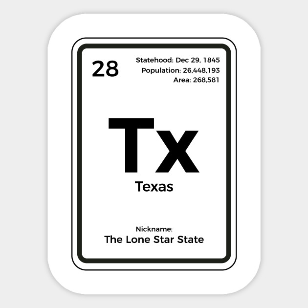 Texas Periodic Table T Shirt Lone Star State Gifts Texas