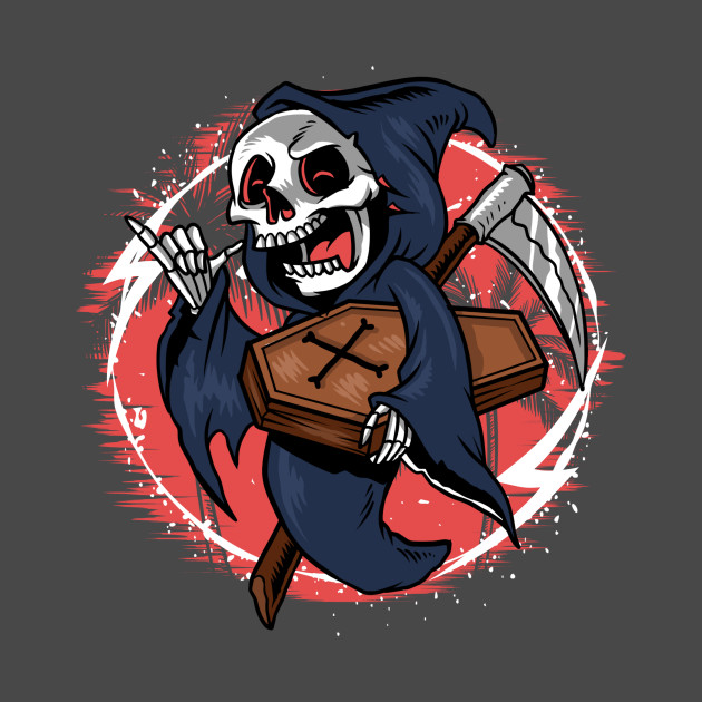 Scary Skull Grim Reaper With Sickle And Coffin