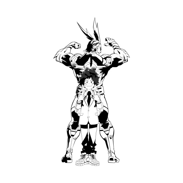 My Hero Academia - All Might and Midoriya - Vector Outlines (Black and White)