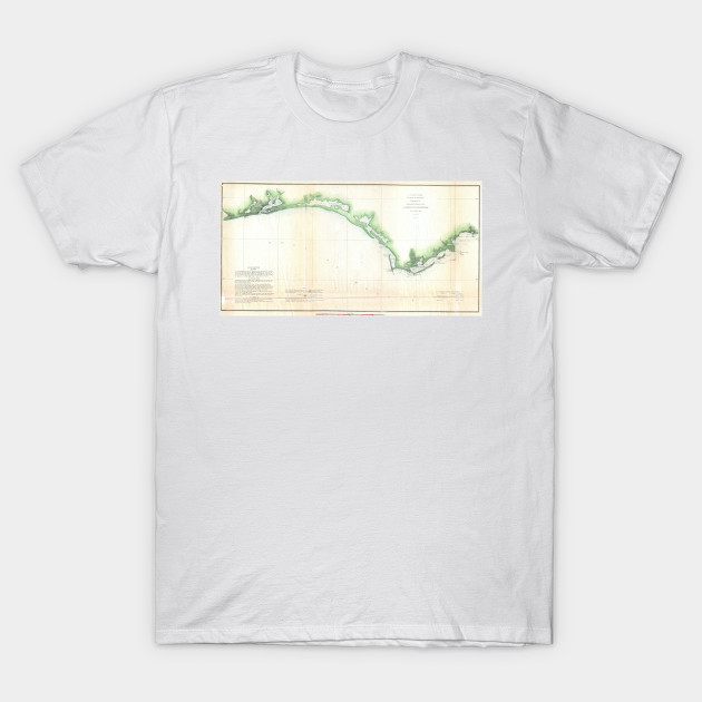 Coastal Map Of Florida.Vintage Florida Panhandle Coastal Map 1852 Florida Panhandle T